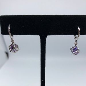 Jewelry - 10kt White GF Boxed Lavender Crystal Drop Earrings